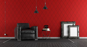 Black and red classic living room Stock Photos