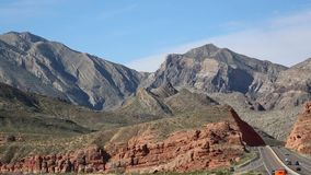 Black and red cliffs over Virgin River Canyon stock video