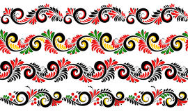 Black and red colors ornate borders set in Russian khokhloma style Stock Images