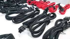 Black and red computer gaming cables wires Royalty Free Stock Photos