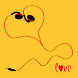 Black and red cord earphones icon. Music love card. Yellow background. Flat design Royalty Free Stock Image