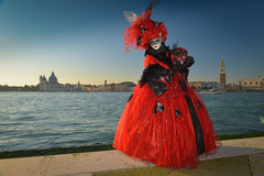 Black and red costumed masked woman Royalty Free Stock Image