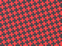 Black and red cross jigsaw puzzle background seamless pattern. 3 Stock Image