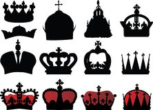 Black and red crown collection Royalty Free Stock Photo