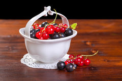 Black and red currant in bowl Stock Images