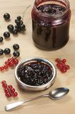 Black and red currant jam Stock Photos