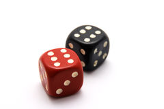 Black and Red Dice. Isolated on white stock image