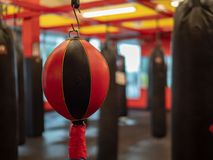 Black and red double end bag hanging in an empty combat sports gym stock photos