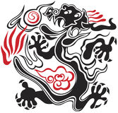 Black and red dragon. Red and black dragon on white background royalty free illustration