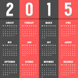 Black and red european calendar of 2015 year. Vector illustration Royalty Free Stock Photo