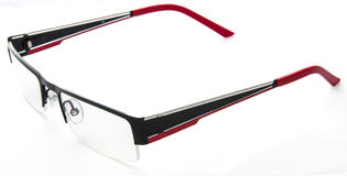 Black red eyeglasses on white background top-side Royalty Free Stock Photos