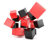 Black and red falling cubes. On white background. 3d rendering image Royalty Free Stock Images