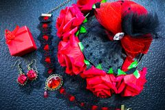 Black and red female accessories in a stylish vintage set Stock Photos