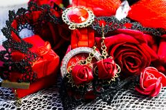 Black and red female accessories in a stylish vintage set Royalty Free Stock Photography