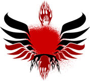 Black Red Fire Wings. Vector Illustration Stock Photos