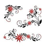 Black and red floral background Royalty Free Stock Photography