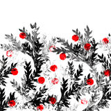Black and red floral background. stock illustration