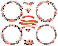 Black and red floral vector wreath borders Stock Images