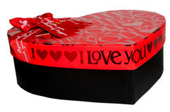 Black and red gift box. On white studio background Royalty Free Stock Photography