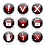 Black and red glossy buttons with security, hazard and warning signs. Royalty Free Stock Image