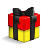 Black, red, gold gift box. Vector of a gift box painted in the colors of the German flag Stock Photo
