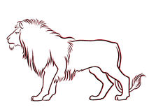 Black and red graceful Lion contour. Isolated over white. Hand drawing vector illustration Royalty Free Stock Photos