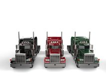 Black, red, and green classic eighteen wheeler trucks without trailers - top down view. Isolated on white background royalty free illustration