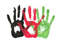Handprints in the form of the flag of Afghanistan. black, red, green color of the flag. Black, red, green color of the flag. handprints in the form of the flag stock illustration