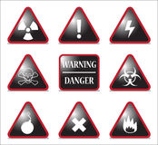 Black And Red Hazard Triangles Royalty Free Stock Photos