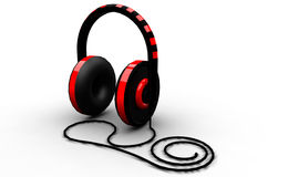black and red headphones on white background Royalty Free Stock Photography
