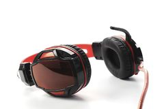 Black red headset isolated on white background Royalty Free Stock Image