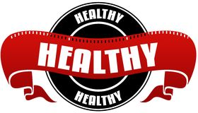 Black and red HEALTHY badge and ribbon. Illustration concept Stock Photography