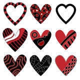Black and red heart collection Stock Photos