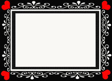 Black and Red Heart Designer Frame Border Stock Photography