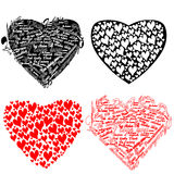 black and red heart with hearts and the words I lo Stock Image