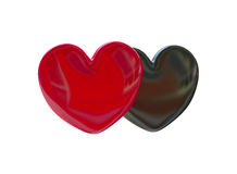 Black and Red Hearts. 3D black and red hearts Royalty Free Stock Photos