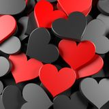 Black and red hearts. Background. Concept for Valentine's Day, Women's Day, and others. 3D Rendering Royalty Free Stock Photos