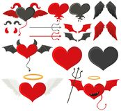 Black and red hearts with wings. Illustration Royalty Free Stock Photo