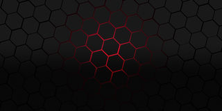 Black and red hexagons modern background illustration Stock Images
