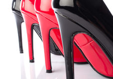 Black and red high heel shoe closeup Stock Images