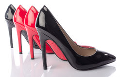 Black and red high heel shoe Royalty Free Stock Images