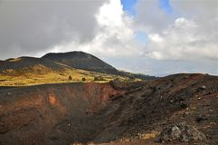 Slopes and Caldera Rim of Mount Etna, Sicily. Black and red Igneous Rock on a Caldera Rim of Mount Etna, Sicily Royalty Free Stock Photos