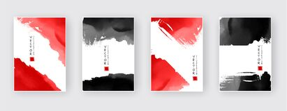 Free Black Red Ink Brush Stroke On White Background. Japanese Style Royalty Free Stock Image - 172058486