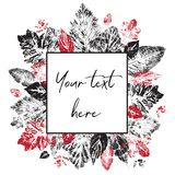 Black and red leaf prints are located around the square frame for the inscription. Stock Photos
