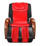 Black and red leather reclining massage chair. With clipping path, original design Royalty Free Stock Photo