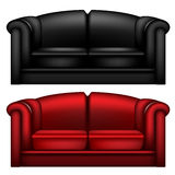 Black and red leather sofa Royalty Free Stock Image
