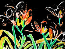 Black-red lilies, painting Royalty Free Stock Photos