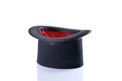 Black and red magician top hat. Isolated on white background Royalty Free Stock Photo