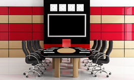 Black and red  meeting room Stock Image