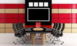 Black and red meeting room. Modern black and red meetingroom - rendering